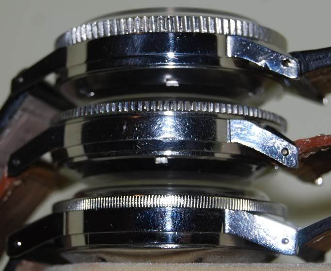 Type 20 bezel comparison | Chronofixe, Dodane, Airain (from top to bottom). ©Erick D. Mi Piace