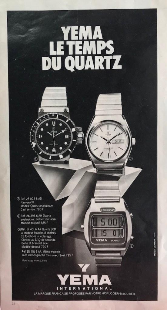 YEMA Advertising. YEMA, Time of quartz. YEMA 25.025.6 AD