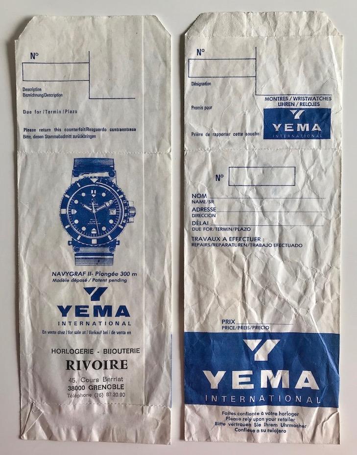 YEMA advertising. YEMA servicing paper bag