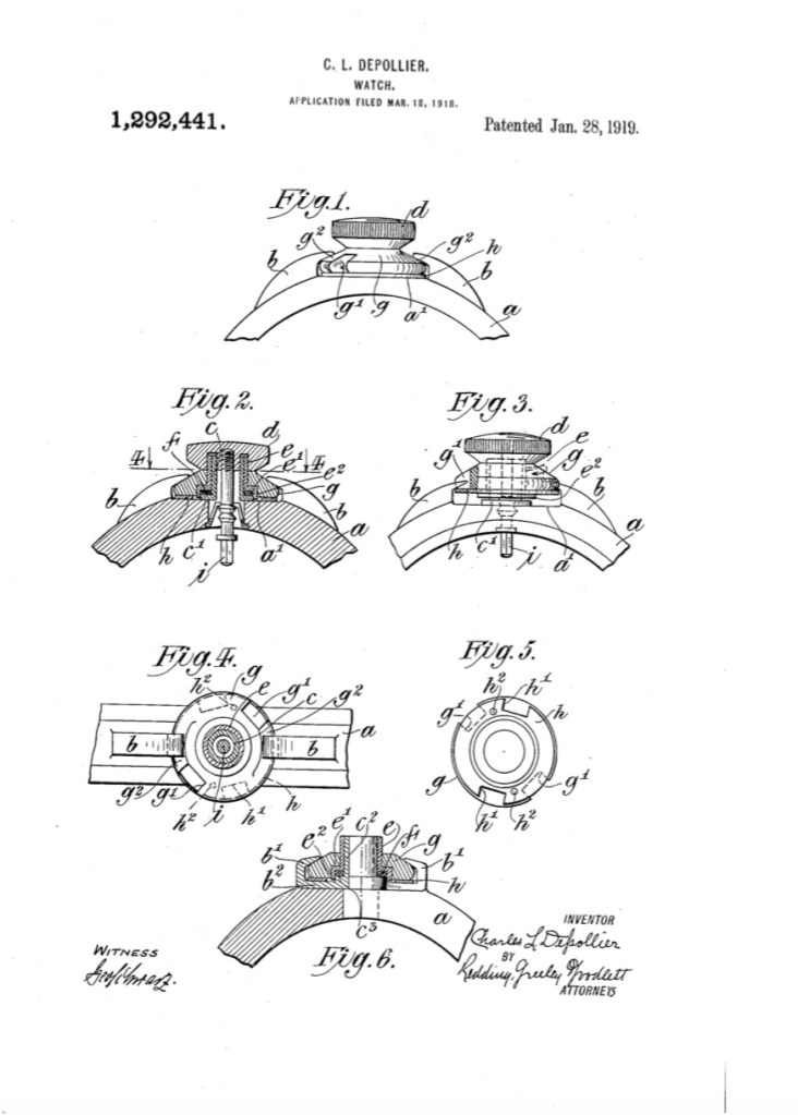 WALTHAM Fiel and Marine - 1919 US Patent 1,292,441 - The Depollier bayonet crown system - 01